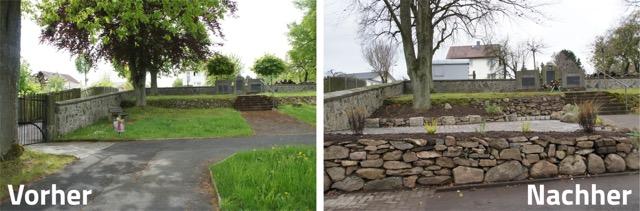 Der Platz auf dem Friedhof vorher und nachher Foto: Doebler