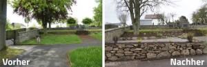 Vergleich: Platz auf dem Friedhof vorher / nachher